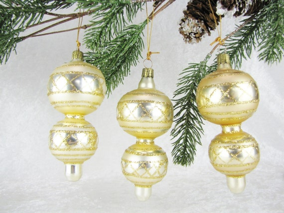 German Christmas Ornaments.German Christmas Holiday Ornaments Set Unique Vintage Family Tree Decorations Glass Gold Glitter Christmas Baubles Tree Decor