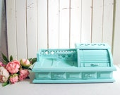 Teal Vintage Jewelry Valet Box, Aqua Roll Top Desk Style Wooden Jewelry Box, Mint Desktop Jewelry Holder, Shabby Chic Jewelry Box