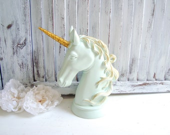 Mint Unicorn Statue, Mint and Gold Decorative Small Unicorn Head, Kids Bedroom Decor, Unicorn Theme, Nursery Decor, Green Unicorn Figurine