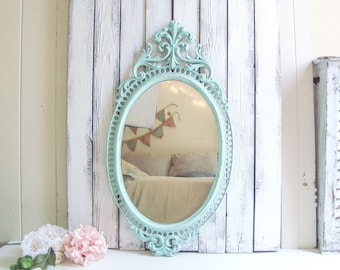 Aqua Mint Oval Mirror, Vintage Ornate Teal Mirror, Baby Nursery Mirror, Kids Play Room Oval Mirror, Mirror, Baby Shower Decor, Gift Ideas