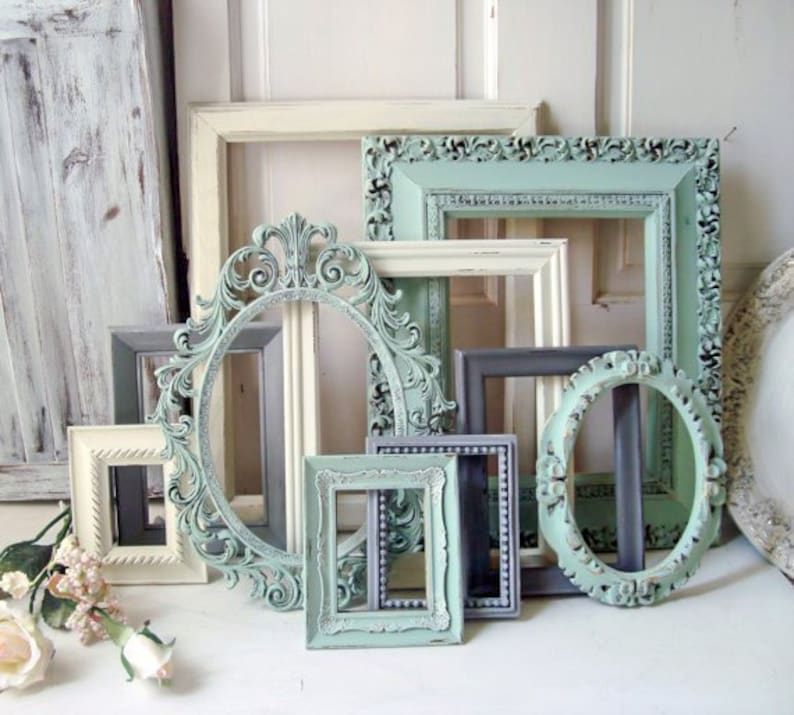 555edf2d1630 Mint Picture Frame Set Shabby Chic Frames Living Room Wall