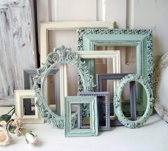 Mint Picture Frame Set Shabby Chic Frames Living Room Wall Gallery
