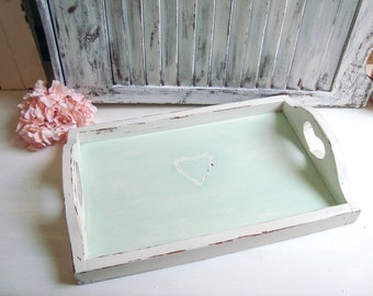 Shabby Chic Mint Heart Serving Tray, Rustic Mint Green Wooden Vintage Tray, Decorative Tray, Kitchen Serving Tray, Wedding Tray, Gift Ideas