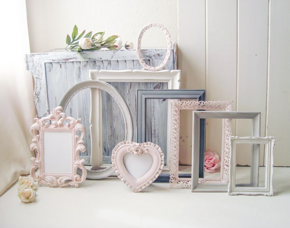 Pink and Gray Nursery Frames, Shabby Chic Blush Pink and Cream ...