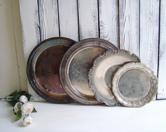 Rustic Silverplate Tray Assortment, Farmhouse Silver Round Trays, Ornate Vintage Trays, Wedding Decor, Serving Trays, Shabby Chic Decor