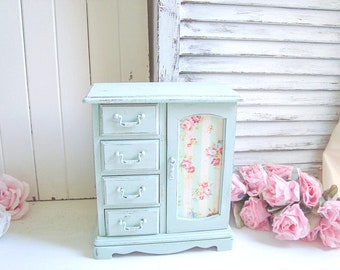 Shabby Chic Jewelry Box, Mint Green Jewelry Holder, Cottage Chic Jewelry Chest, Gift Ideas, Wooden Floral Jewelry Box, Nursery Decor, Gifts