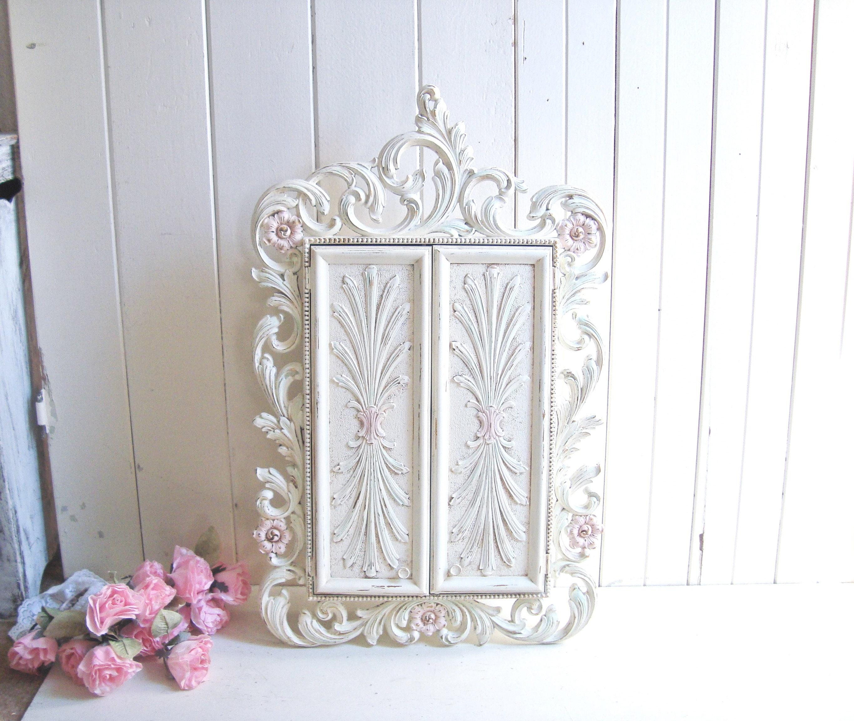 Vintage Cream Jewelry Cabinet, Ornate Floral Jewelry Box, Bathroom ...