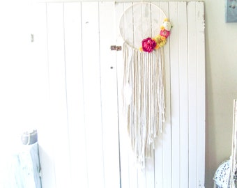 Large Boho Gypsy Dreamcatcher, Boho Home Decor, Bohemian Wall Decor, Nursery Decor, Teen Gift Idea, Wedding Decor, Floral Wall Hanging