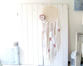 Large Dreamcatcher, Boho Gypsy Glitter Dreamcatcher, Boho Home Decor, Nursery Decor, Wedding Decor, Shabby Chic Wall Hanging, Gift for Teen