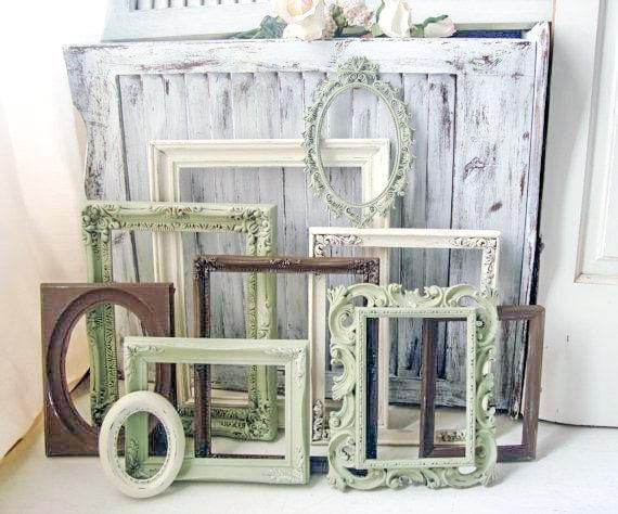 Green Picture Frame Set Etsy