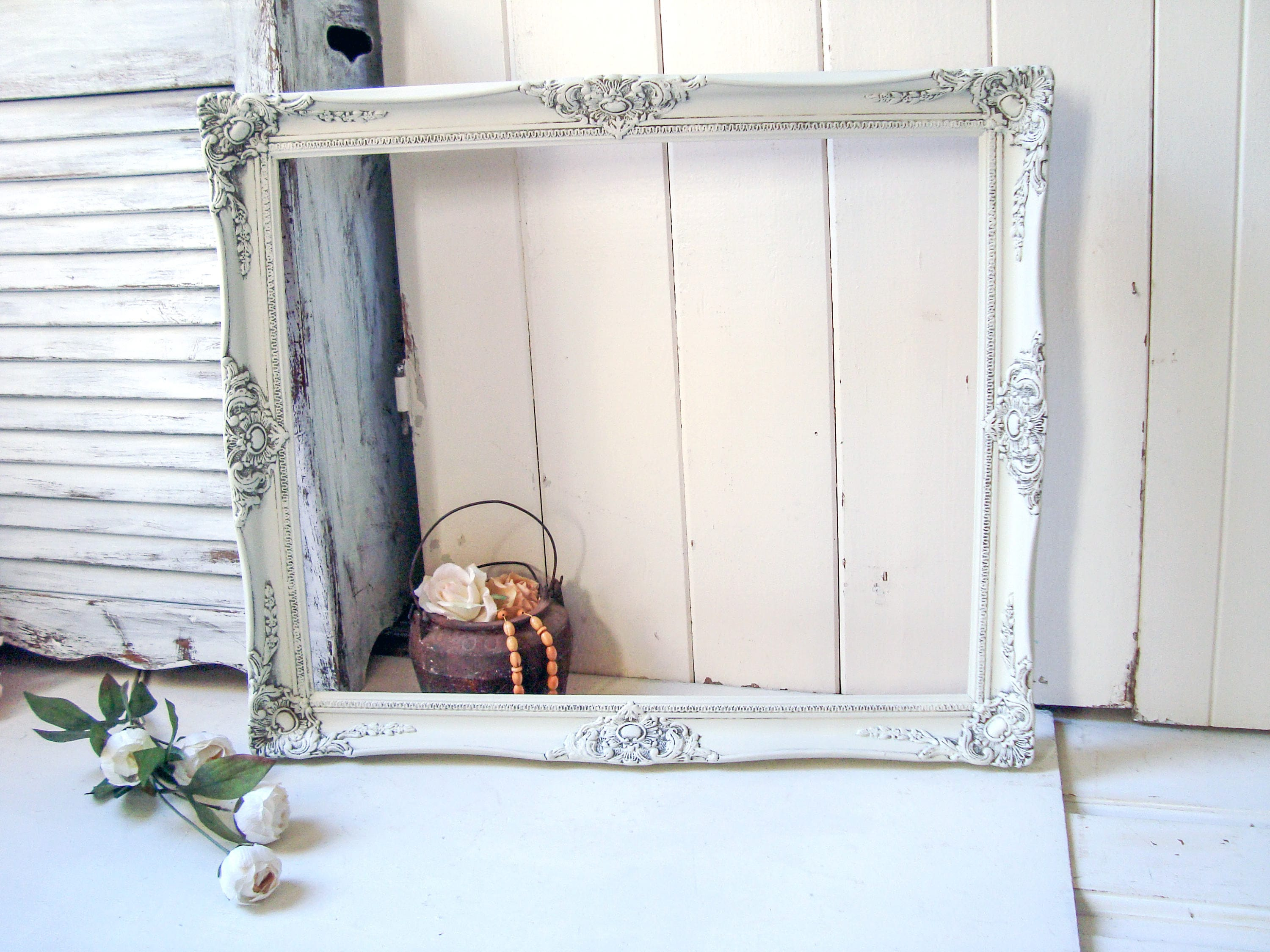 Rustic White Picture Frame, Shabby Chic Cream Large Open Frame ...