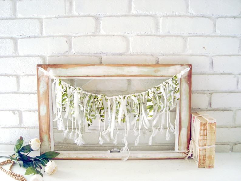 Vintage Window Wall Decor Wall Hanging With Crystals Garland Holiday Wall Decor Rustic Farmhouse Window Glass Icicle Ornaments