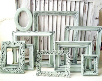 Sea Glass Picture Frames, Rustic Mint Picture Frames, Shabby Chic Frame Set, Ornate Frames, Mint Nursery Frames, Vintage Wedding Frames