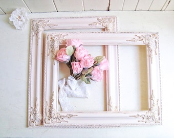 Pink Ornate Frames, 12 x 16 Blush Pink and Gold Picture Frames, Pink Nursery Frames, Pink Open Wedding Frames, Baby Pink Baby Shower Frames