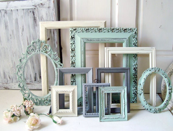 Mint Picture Frame Set Shabby Chic Frames Living Room Wall Etsy