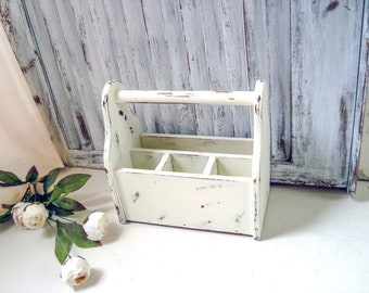 Shabby Chic Storage Caddy, Rustic Farmhouse Divided Wooden Storage Box with Handle, Silverware and Napkin Caddy Storage Box, Gift Ideas