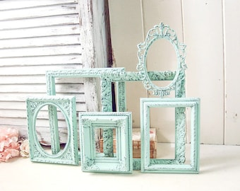 Mint Frames, Vintage Ornate Picture Frames, Rustic Mint Open Frame Gallery, Nursery Frames, Oval Green Frames, MADE to ORDER, Shabby Chic