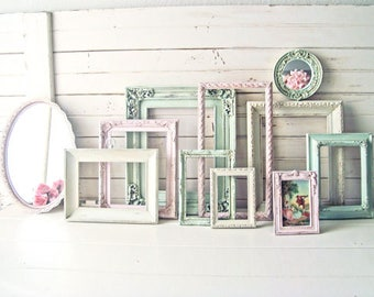 Pink and Mint Vintage Frames, Baby Girl Nursery Frames, MADE to Order, Oval Ornate Frames, Shabby Chic Frames, Painted Picture Frame Set