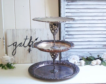 Rustic Cupcake Stand, Tiered Dessert Stand, Farmhouse Silver Plate Coffee Stand Tray, Ornate Desert Stand, Wedding Desert Stand, Baby Shower