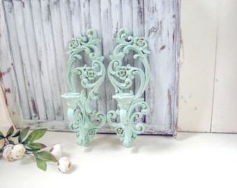 Shabby Chic Mint Green Vintage Wall Sconces, Mint Green Nursery Decor, Ornate Candle Holders, Shabby Chic, Cottage Chic, Green Sconces