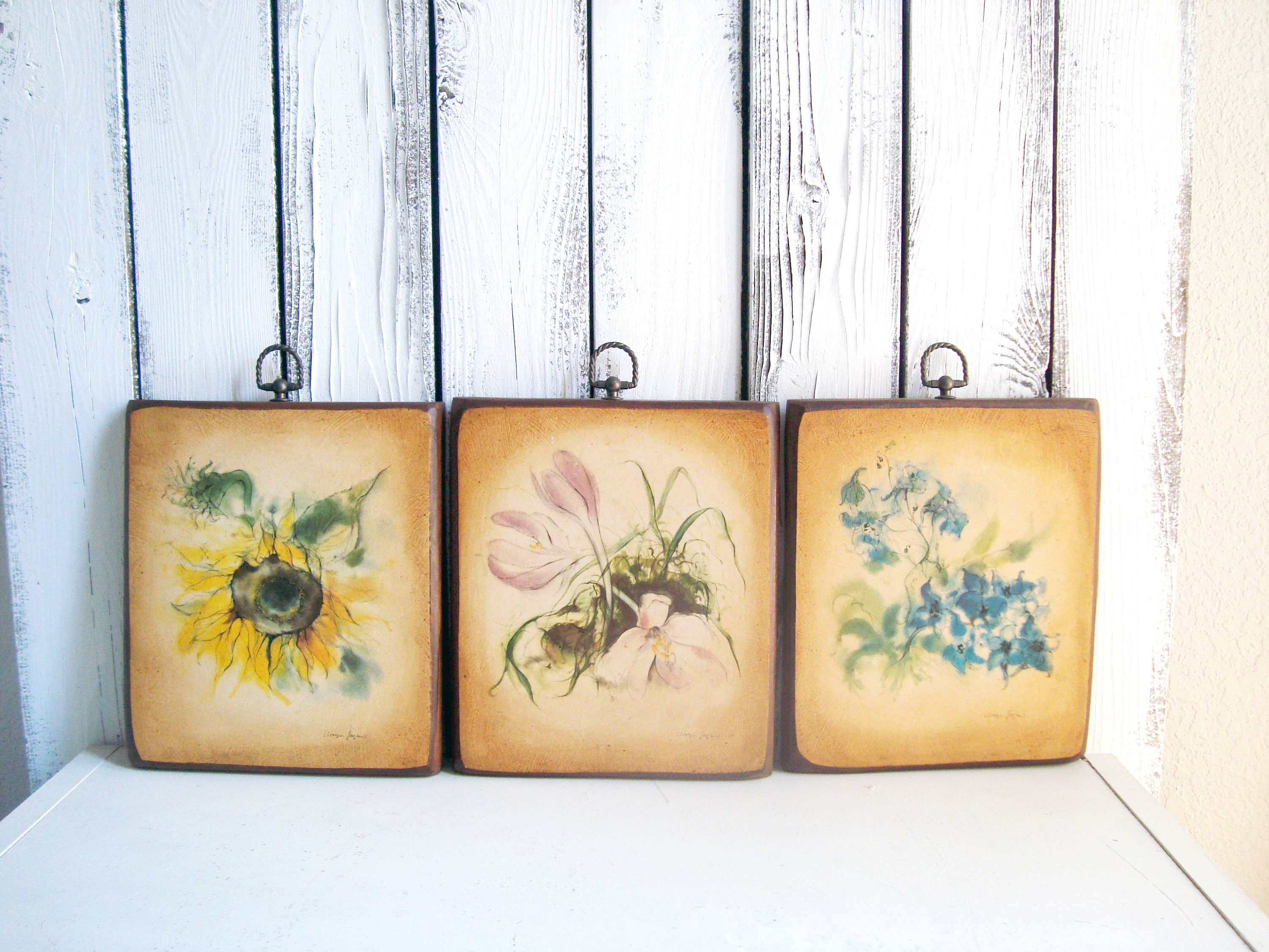 Vintage Floral Wall Hangings, French Country Wall Decor, Botanical ...