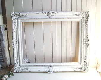 Large White Frame, Vintage Ornate Rustic White Frame, Shabby Chic Frame, Wedding Frame, Farmhouse Antique White Wooden Frame, Nursery Frame