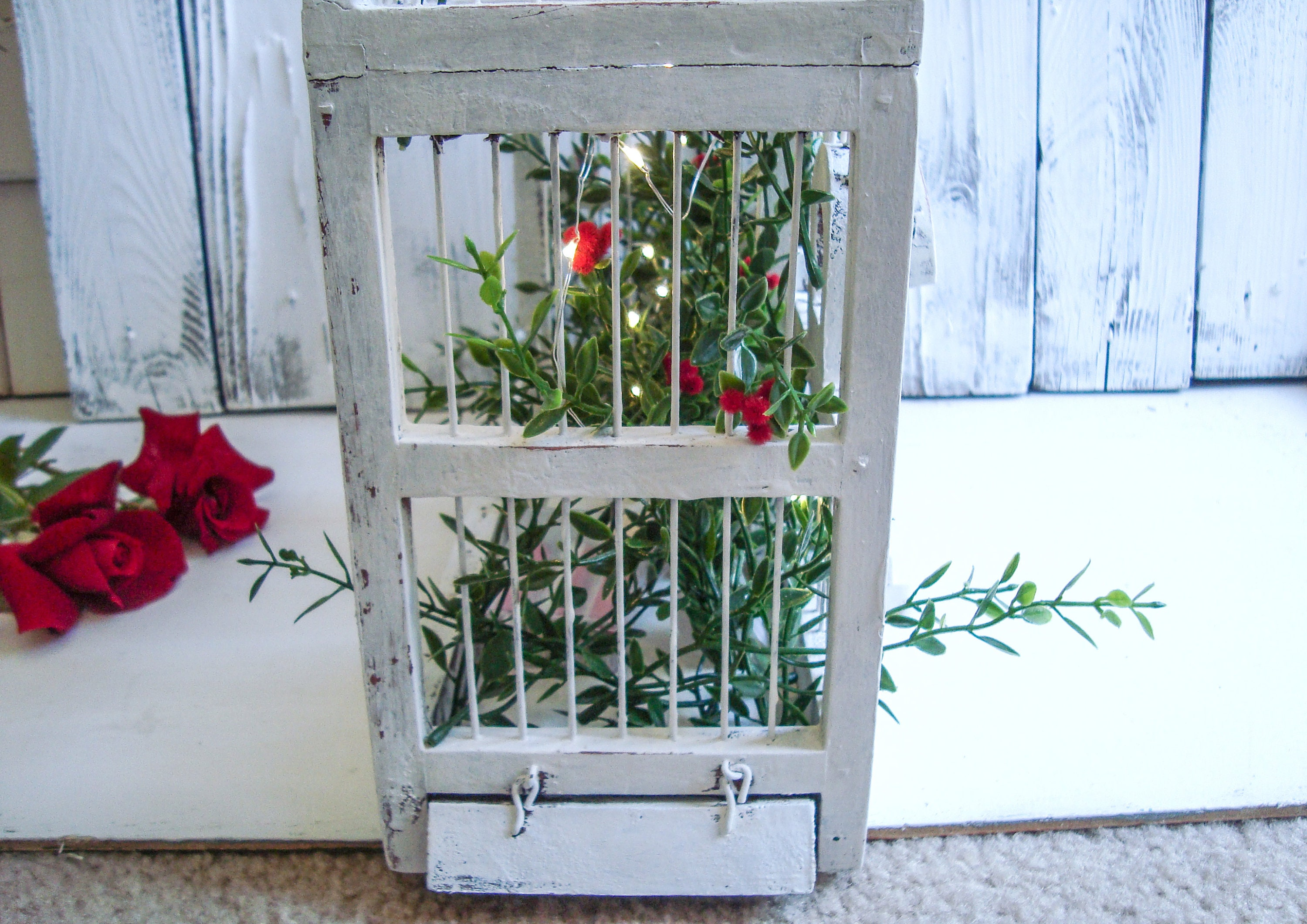 vintage white birdcage dome birdcage wedding centerpiece christmas decor rustic farmhouse decor large birdcage with lights and greenery