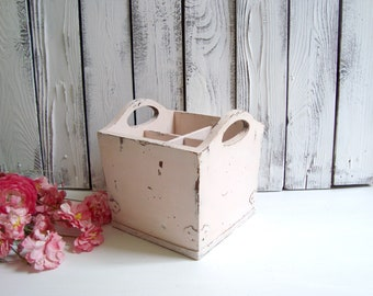 PinkWooden Storage Box, Blush Rustic Divided Storage Basket, Wedding Decor, Bathroom Storage Box, Gift Favors Basket , Silverware Caddy