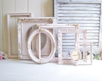 Baby Pink and Gold Vintage Ornate Frames, Light Pink and Gold Open Nursery Frame Set, Pink Nursery Decor, Shabby Chic Pink Wedding Frames