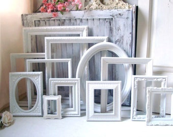 White Vintage Frame Set, Bright White Picture Frames, White Frame Gallery, MADE to Order Picture Frames, Shabby Chic White Wedding Frames