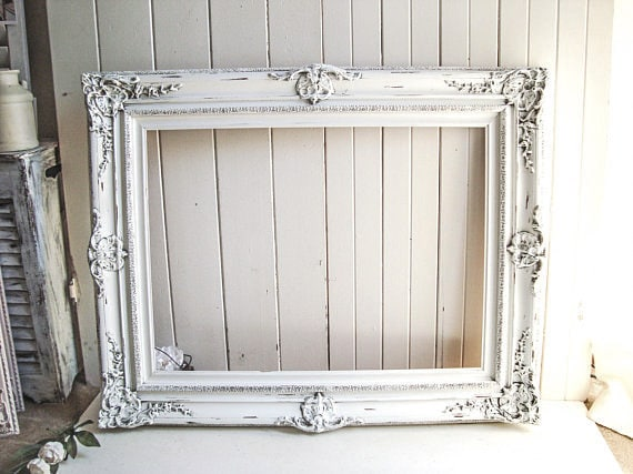 Large White Frame, Vintage Ornate Rustic White Frame, Shabby Chic ...