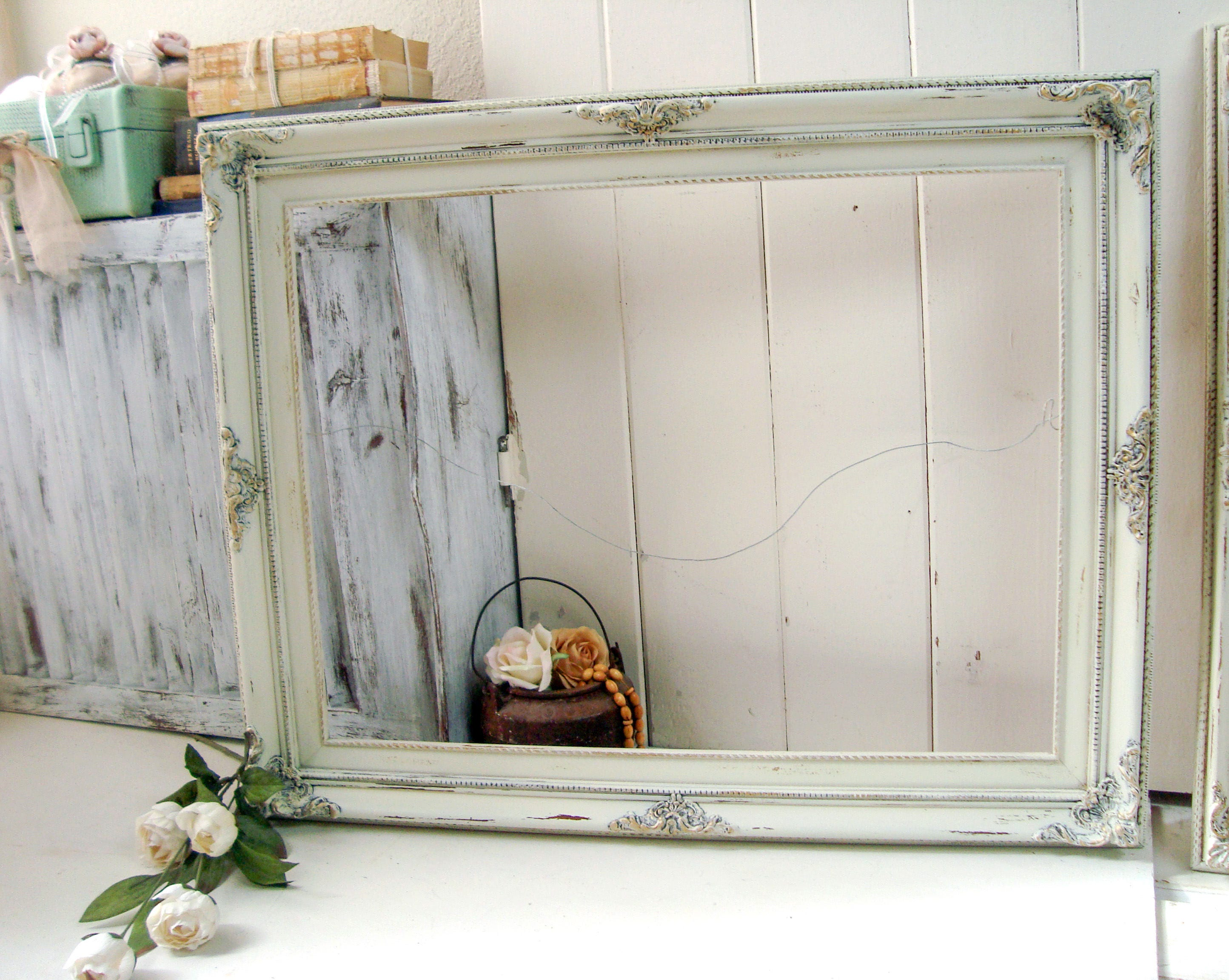 Antique Cream And Gold Large Ornate Open Frame Farmhouse Off White