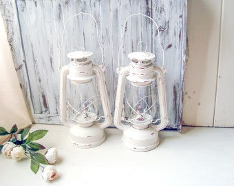 Farmhouse White Rustic Lanterns, Beach House Lantern Decor, White Lanterns, Rustic Metal Lantern Lamp Shabby Chic Off White Kerosene Lantern