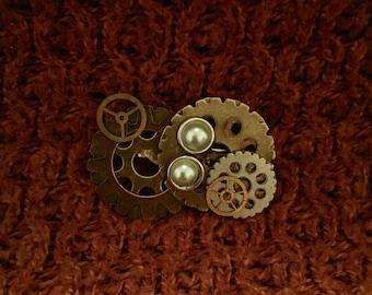 Steampunk pin twopearl