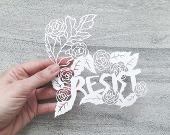 """Feminist Papercut Art, """"Resist"""" Mantra Art, Papercutting, Inspirational Wall Art, Handcut Paper Art, Unframede Art"""