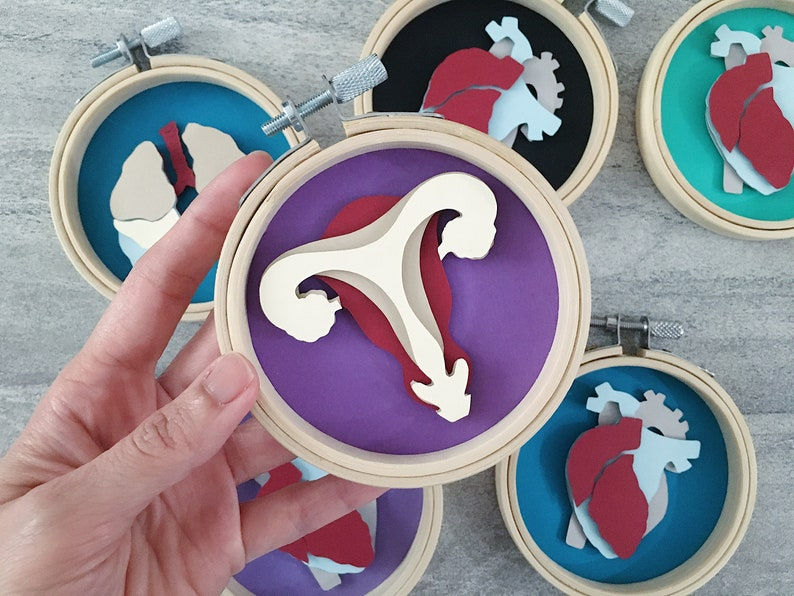 Handcut Paper Sculpture of Anatomical Uterus and Lungs image 0