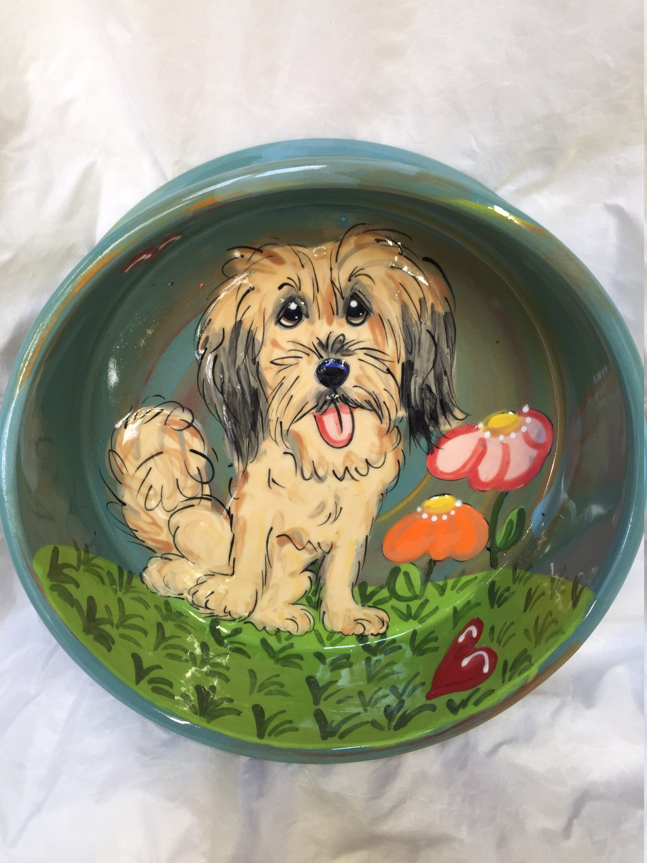 Dog Bowl Hand Painted Dog Art Pottery Ceramic Dog Bowl Etsy