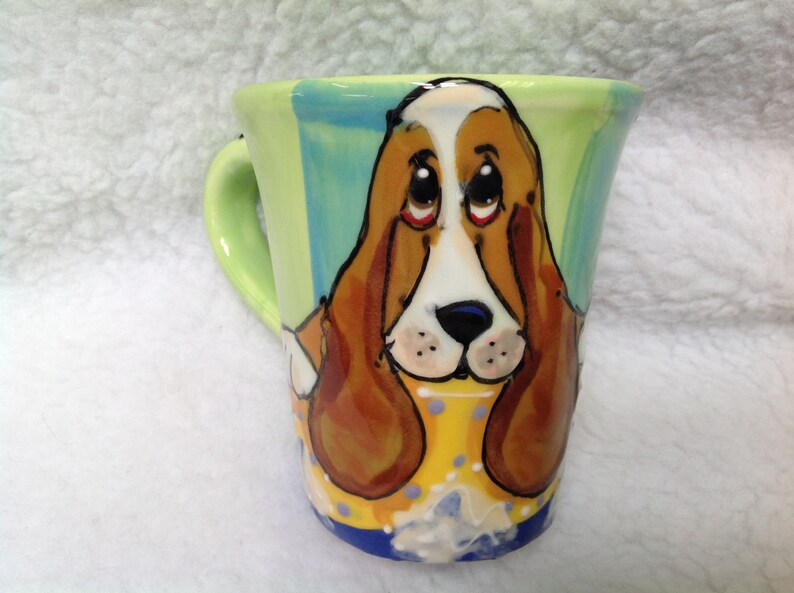 Kaffee Haferl Hand Bemalte Keramik Basset Hound Custom Hund Trophy Wunderlich Debby Carman Faux Paw Produktionen