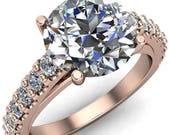 Chiara Moissanite Forever One Hearts Arrows Diamond Accented Preset Peg Setting with Prong Set Diamond Shoulder Ring