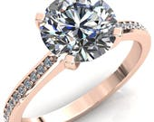 Cecily Round Forever One Hearts Arrows Moissanite Classic 4 V Prong High Diamond Shoulders 3 4 Eternity Solitaire Ring
