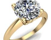 Gloria Round Forever One Moissanite High Shoulder 4 Prong 4 Surprise Bezel Filigree Engagement Ring