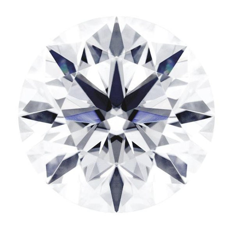 Certified Round Hearts and Arrows Fire & Brilliance Loose Moissanite Stone  - 1 25 Carats - D Color - VVS1 Clarity