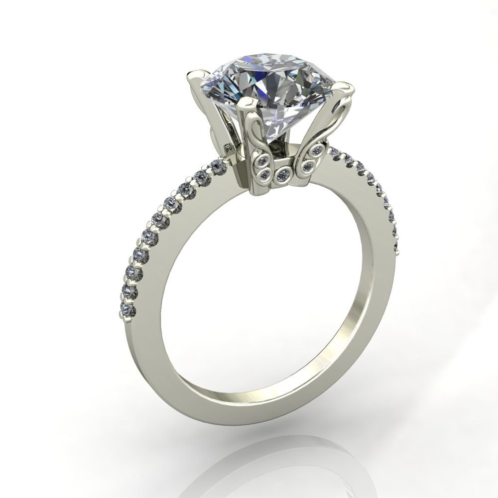 Stacey Round Forever One Moissanite Custom Diamond Shoulders image 0