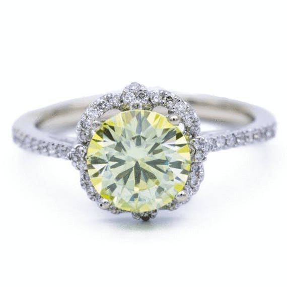 Charles & Colvard Limited Edition Rare 7mm Canary Yellow Round Moissanite  14K White Gold Clover Halo Filigree Shank MicroPave Diamond Ring