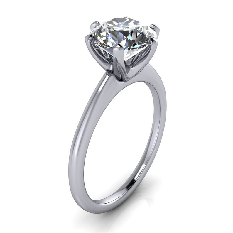 Inventive 2ct Round Cut Diamond Classic Solitaire Engagement Ring 14k White Gold Finish Lustrous Surface Jewelry & Watches Diamond