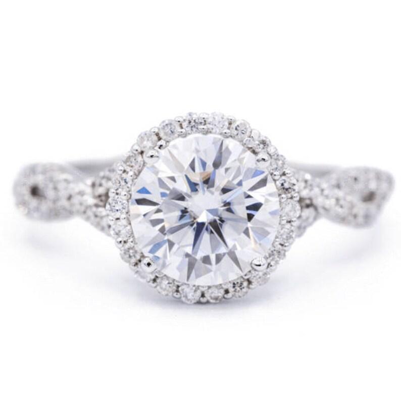 Round Moissanite 14K White Gold Infinity Band Halo MicroPave Diamond Ring