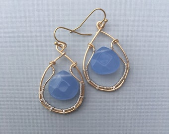 Earrings,  wire with blue glass bead