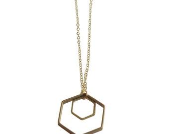 Double Hexagon Necklace; Geometric Necklace; Geometric Jewelry; Hexagon Jewelry; Hexagon Necklace; Shape Necklace
