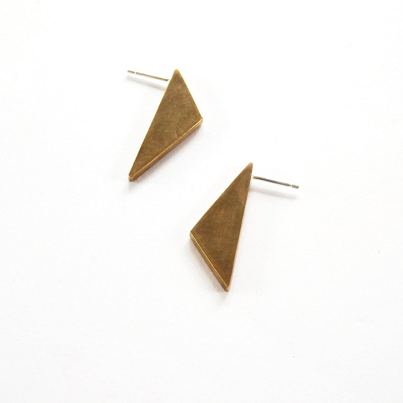 Angular Stud Earrings; Brass Triangle Studs; Sterling Silver Triangle Studs; Triangle Jewelry; Geometric Earrings; Geometric Jewelry