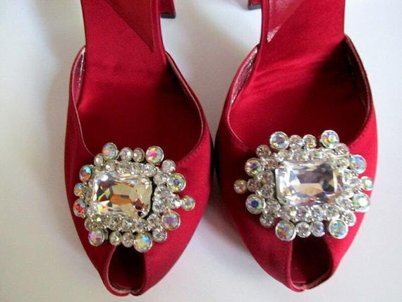 Karen Millen Vtg Wine Red Mary Jane Peep Toe Shoe
